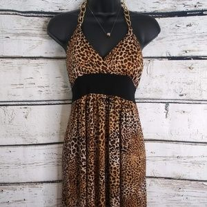 Star Vixen/ Leopard print halter dress/ Size small